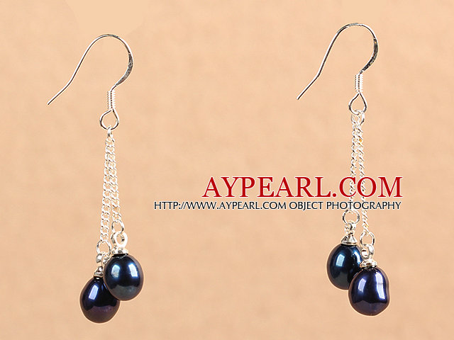 Boucles d'oreilles style simple long Natural Black Freshwater Pearl Dangle