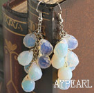 Elegant White With Blue Drop Shape Opal Earrings With Fish Hook
