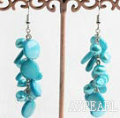 Fashion Blue Freshwater Pearl And Blue Flat Round Shell Link Dangle Earrings