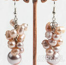 Wholesale Fashion Freshwater Pearl And Purple Seashell Cluster Dangle Earrings With Fish Hook