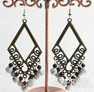 Fashion Vintage Style Round Garnet And White Turquoise Dangle Earrings With Bronze Charm