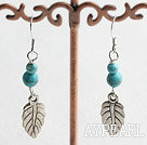 Fashion Round Blue Turquoise And Leaf Charm Pendant Earrings With Fish Hook