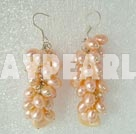 Natural Pink Fresh Water Cluster Pearl Earrings With Fish Hook