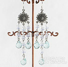 Vintage Blue Drop Shape Metal Charm Earrings With Fish Hook