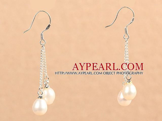 Simple Long Style Natural White Freshwater Pearl Dangle Earrings