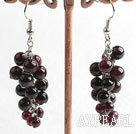 Wholesale garnet long style earrings
