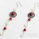 Classic White Hollow Disc Shell And Round Bloodstone Loop Charm Earrings