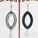 Wholesale Nice Eye Shape Black Shell And Amazon Stone Dangle Earrings With Fish Hook
