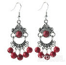 Fashion Round Red Bloodstone Loops Metal Charm Dangle Earrings With Fish Hook