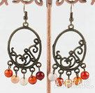 Fashion Vintage Style Natural Red Agate Loop Dangle Earrings With Bronze Charm Accessories