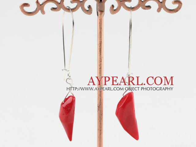 Fashion Pepper Shape Red Coral Dangle Earrings With Hook Earwires