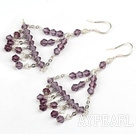 Fashion Chandelier Amethyst Dangle Earrings With Fish Hook