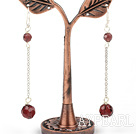 Fashion Manmade Wine Red Crystal Long Link Charm Earrings With Fish Hook