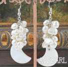 Wholesale white pearl and shell earrings