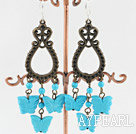 Beautiful Round And Butterfly Blue Turquoise And Loop Link Bronze Charm Dangle Earrings