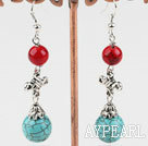 Beautiful Round Bloodstone And Burst Pattern Turquoise Metal Charm Earring