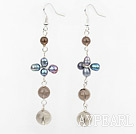 Wholesale Dangle Style Black Freshwater Pearl and Smoky Quartz Long Earrings