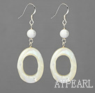 Fashion White Howlite And White Lip Shell Loops Dangle Earrings With Fish Hook