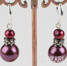 Nice Purple Series Freshwater Pearl And Round Sea Shell Bead Metal Charm Earrings With Lever Back Hook