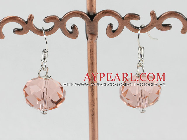 Simple Style Pink Czech Crystal Ball Dangle Earrings With Fish Hook