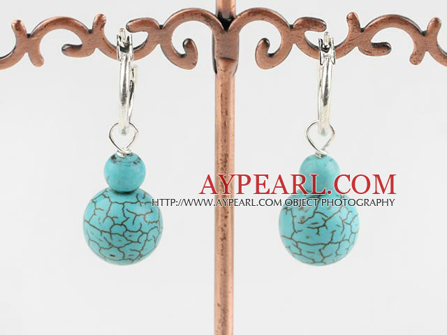 Simple Style Blue Round And Burst Pattern Turquoise Loop Earrings With Lever Back Hook