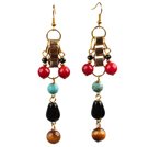 Summer New Design Tiger Eye Turquoise Coral And Drop Black Agate Long Dangle Earrings
