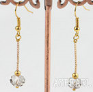 Wholesale Lovely Manmade White Crystal With Golden Stick Charm Earrings Fish Hook