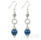 Wholesale long style blue agate earrings
