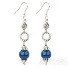 Wholesale long style blue agate earrings