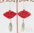 Fashion Engraved Cinnaba And Bloodstone Leaf Charm Dangle Earrings With Fish Hook