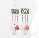 Vintage Style 3-Color Drop Shape Crystal Earrings With Fish Hook