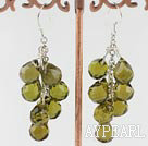 Wholesale Elegant Manmade Olive Green Teardrop Link Charm Dangle Earrings With Fish Hook
