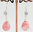 Wholesale Lovely Cherry Quartz Loop Metal Charm Dangle Earrings With Fish Hook