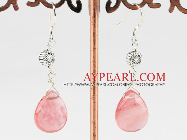 Lovely Cherry Quartz Loop Metal Charm Dangle Earrings With Fish Hook