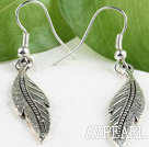 Lovely Leaf Shape Tibetan Silver Dangle Earrings With Fish Hook
