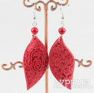 Fashion Red Cinnaba Pepper Shape Dangle Earrings With Fish Hook