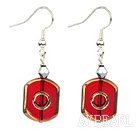 Fashion Crystal And Red Hexagon Glass Bead Dangle Earrings With Fish Hook