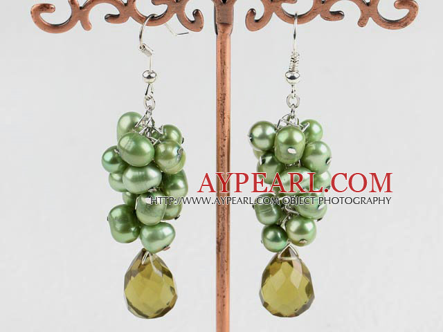 Nice Green Freshwater Pearl And Teardrop Smoky Color Crystal Cluster Earrings