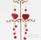 Fashion Heart Shape Red Cinnaba And Round Bloodstone Dangle Earrings