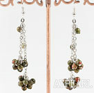Long Style Green Piebald Stone Dangle Earrings
