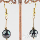 Nice Round Black Seashell And Golden Stick Drop Earrings With Golden Fish Hook