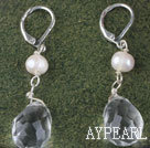 Nice White Freshwater Pearl And Transparent Teardrop Crystal Earrings With Lever Back Hook
