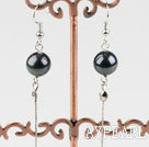 Simple Long Chain Loop Style Round Black Seashell Pearl Earrings With Fish Hook