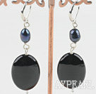 Wholesale pearl black agate earring