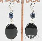 Wholesale pearl black agate earring
