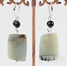 Large Square Amazon Stone Bead Dangle Earrings