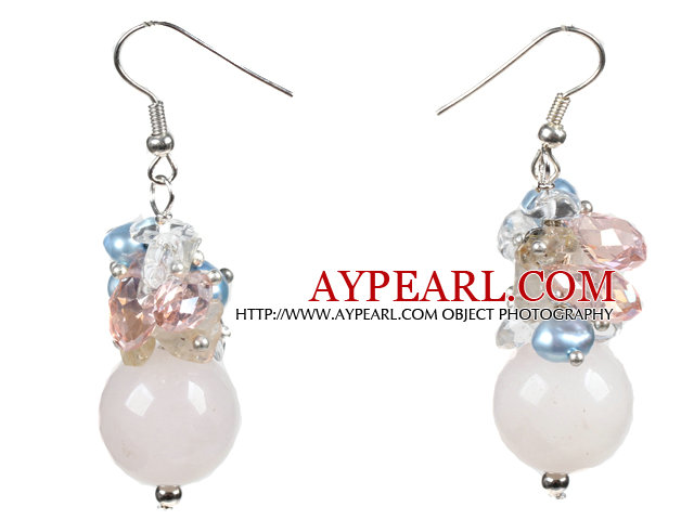 Beautiful Design Pink Rose Quartz Cluster Crystal Pearl Dangle Earrings