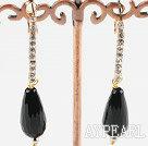 Wholesale rhinestone black agate earrings