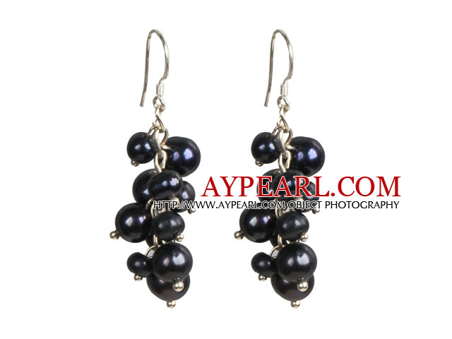 Popular Cluster Shape Natural Black Freshwater Pearl Dangle Earrings