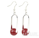 Nice 12Mm Round Red Agate Ball And Twisted Loop Dangle Earrings With Fish Hook
